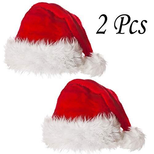 hnachtsmützen Hochwertiger Plüsch Dick Red Velvet Santa Hüte mit weißen Manschetten für Erwachsene und Kinder (2 Stück (eine Größe)) ()