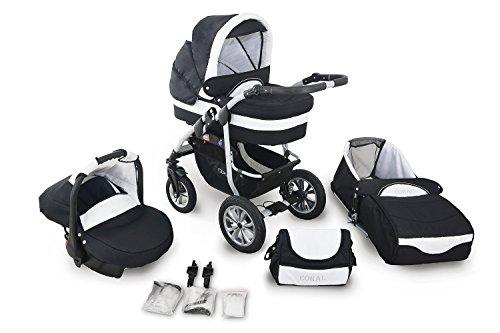Clamaro 'CORAL 2019' Kinderwagen 3in1 Kombi System mit Babywanne, Sport Buggy und 0+ (0-13 kg) Auto Babyschale, Luftreifen, Federung, Schwenkräder und EASY-STOP Bremse - 16. Schwarz/Weiß