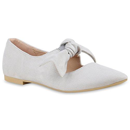 Damen Halbschuhe | Klassische Schnürer Leder-Optik Velours | Basic Schuhe Glitzer Spitze | Schleifen Details | Flache Schuhe Muster Hellgrau Schleife