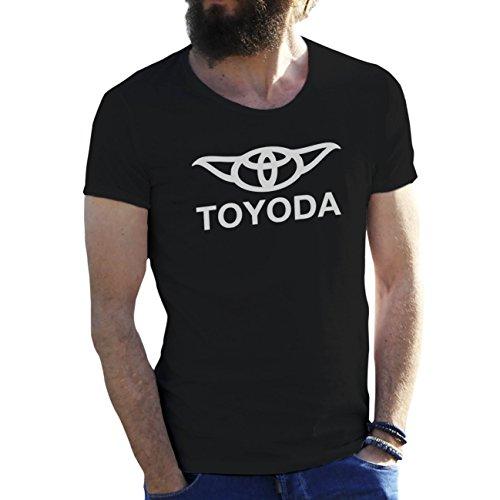 Friendly Bees Toyoda Toyota Logo Star Wars Yoda Parody Negro Camiseta para Hombre Large