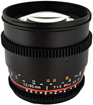 Rokinon CV85M-NEX 85mm t/1.5 Aspherical Lens for Sony E-Mount (NEX) with De-Clicked Aperture and Follow Focus