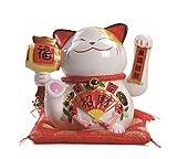 Maneki Neko Winkekatze Glückskatze Glücksbringer Winkende Katze aus Porzellan,Weiß L21*W18*H24cm, 2