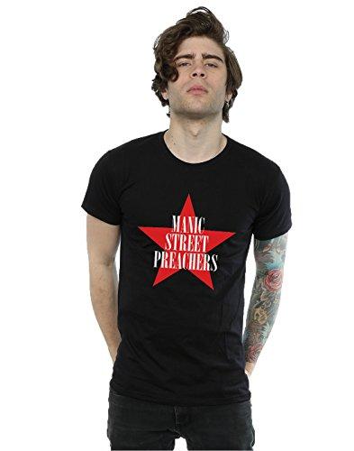 Manic Street Preachers Herren Red Star T-Shirt Large Schwarz (Weiches T-shirt Super Star)