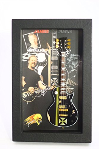 rgm8813James Hetfield Metallica guitarra en miniatura recogida en el marco de Shadowbox