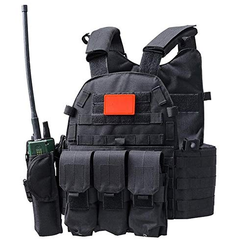 RZRCJ Jagd Tactical Accessoris Körperschutz JPC Plate Carrier Weste Ammo Magazine Chest Rig Airsoft Paintball Gear Loading Bear Westen (Color : Black)
