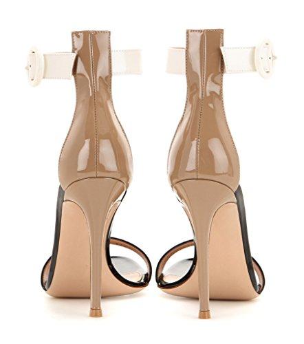 EDEFS Femmes Artisan Fashion Sandales Simples Elégants Lanière Bride à Cheville Des Couleurs Chaussures à Talon Haut de 100mm Argenté Beige-10cm