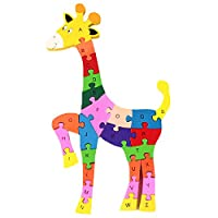 LA HAUTE Alphabet Jigsaw Puzzle Wooden Animal Letters Numbers Blocks Toys Preschool Educational Toys for Toddlers Kids Boys Girls Gift Toys