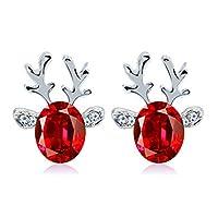 BaZhaHei Crystal Gemstone Earrings Luxury Three Dimensional Christmas Reindeer Earing Rhinestones Hoop Stud Earrings for Women