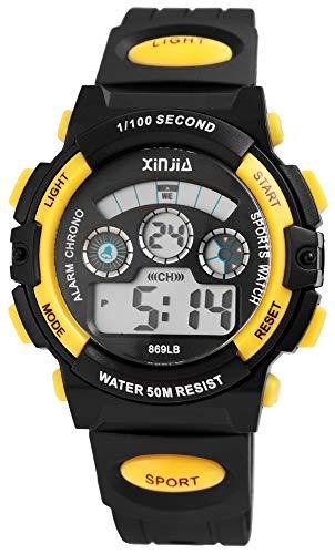 XINJIA - Reloj de Pulsera para Hombre (Digital, Fecha, Alarma, luz, plástico, Silicona, Cuarzo), Color Negro y Amarillo