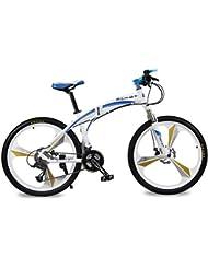 Bicicletas de montaña Marco Plegable de Allumium Hombre Bicicletas 26 pulgadas Shimano 27 velocidad 3 Radios de la Rueda de Magnescium integrado Richbit 601 Blanca Azul Nuevo Actualizado