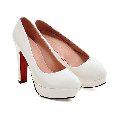 Damens Pumps Volltonfarbe High-Heel Stiletto Rutsch mit Plateau Weiß