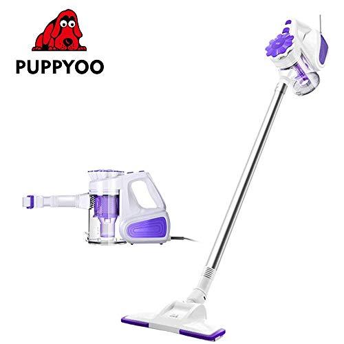 PUPPYOO WP526 Aspirador Escoba 2 en 1,Vertical 600W de Mano sin Cable,Bolsas de Filtro HEPA Portátil para Hogar Aspiradora Doméstica de Mano, Púrpura