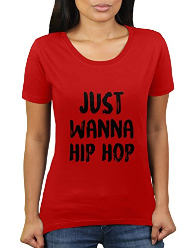 Just Wanna Hip Hop - Damen T-Shirt von KaterLikoli, Gr. XL, Red (Seele Red-t-shirt Herz)
