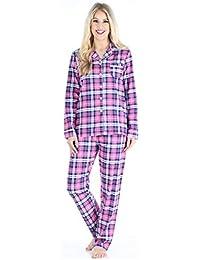 PajamaMania Langärmeliger Flanell Schlafanzug für Damen 2-teiliges Pyjama Set