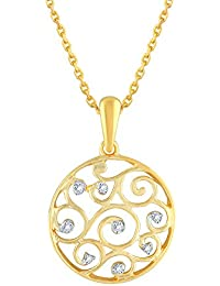 Silvernshine D/VVS1 Diamond Accents 14k Yellow Gold Fn .925 Spiral Circle Pendant Necklace