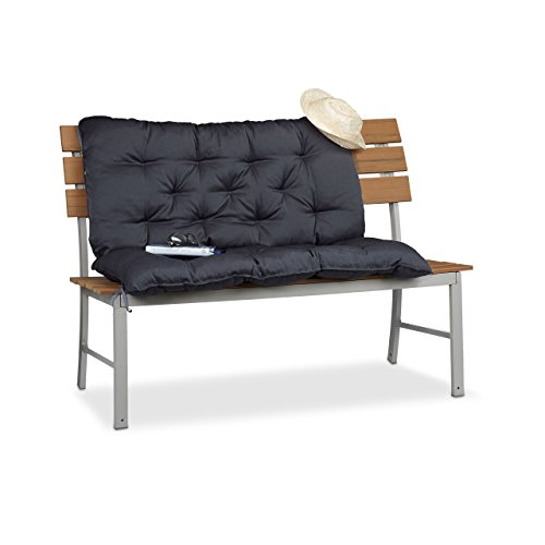 Relaxdays Bankauflage Garten, Sitzkissen & Rückenpolster, Gartenbankauflage, 2-Sitzer, HxBxT: 12 x 104 x 103 cm, grau