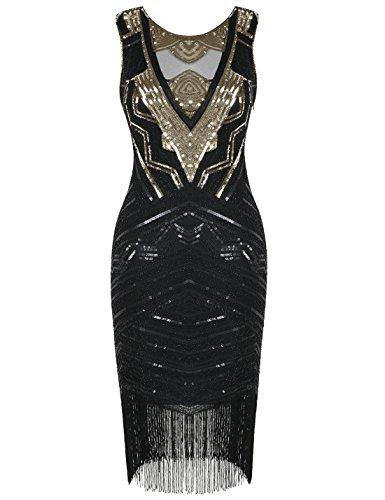 PrettyGuide Damen 1920s Tolles Gatsby Kleid Paillette Cocktail Flapper Kleid S Gold (Perlen Kleid Der Jahre 1920er)