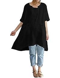 Camisas Lino Mujer Verano AIMEE7 Camisetas Mujer Tallas Grandes Camisetas  Mujer Manga Corta Lino Blusas para 84a65e109a6