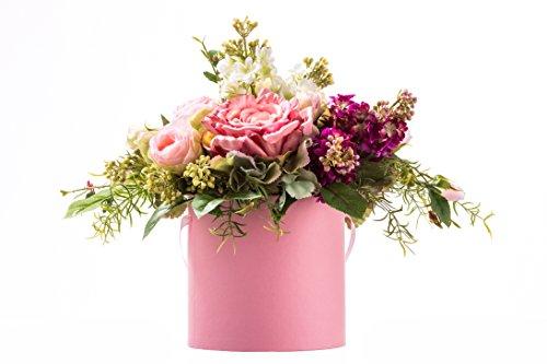 Flower Dream Decor Kunstblumen Arrangement aus Seide Blumen Rosa Blumenkasten Rosen und Flieder