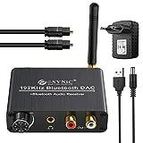 192 kHz DAC Konverter mit Bluetooth 5.0 Empfänger mit Einstellbarer Lautstärke und Optischem Toslink Koaxial Kabel Audio Adapter, 3,5 mm Klinke L/R, digitaler Cinch/Analog