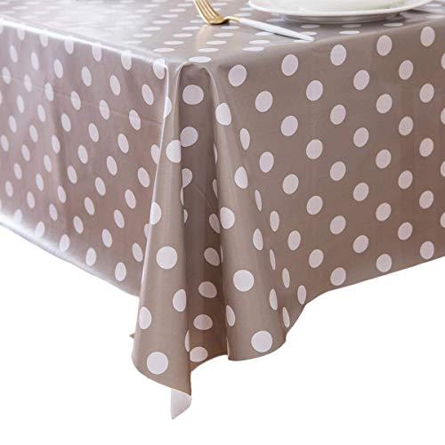 Vinylla - Mantel de PVC fácil de Limpiar, diseño de Lunares, Color Gris, 140 x 140 cm