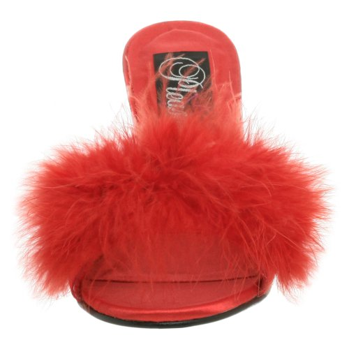 Fabulicious Amour-03, Sandales Bout Ouvert Femme Rouge (Red Satin-Fur)