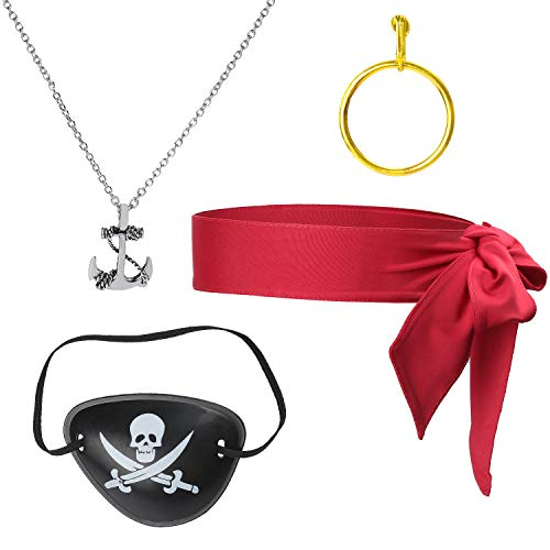 Beelittle 4 Stück Captain Pirate Kostüm Zubehör Set Red Head Tie Schal Wrap Bandana Pirate Augenklappe Gold Ohrring Halskette Pirate Accessories Kit (A) (4 Stück Piraten Kostüm)