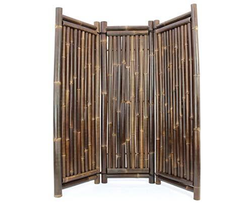 Raumteiler aus schwarzen Bambus, 180 x 180cm 3teilig - Raumtrenner Paravent mobiler Sichtschutz