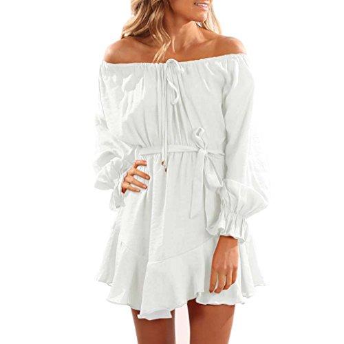 kleid damen Kolylong® Frauen elegante aus schulter kleid Rückenfreies Minikleid Bodycon Party Kleid Strandkleid Abendkleid Bluse (XXL, Weiß) - Schwarze Krepp-kleid