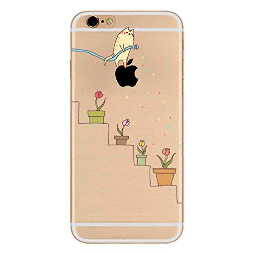 iPhone 8 Plus Hülle,iPhone 7 Plus Case, TPU Cute Funny Kreative Cartoon Transparent Silikon ultra-dünn schützt Hülle - Katzen Bewässerung Topfpflanzen Blumen