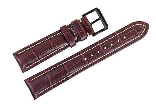 JINQD Home Braune, handgefertigte italienische Uhrenarmbänder aus Leder, Armbänder, Grosgrain, mit weißen Nähten für Luxusuhren