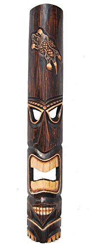 Tiki-Mscara-en-madera-de-Tiki-Hawaii-Look-con-Gecko-Diseo-en-100-cm-Longitud