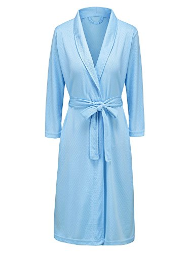 Damen bademantel soft kimono Robes sommer bademantel sommer nachtwäsche tunika bademode Blau