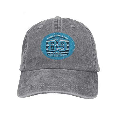 Adjustable Cotton Hat Fashion Cotton Denim Baseball Cap New York Typography NYC Graphic Printing Man original Gray