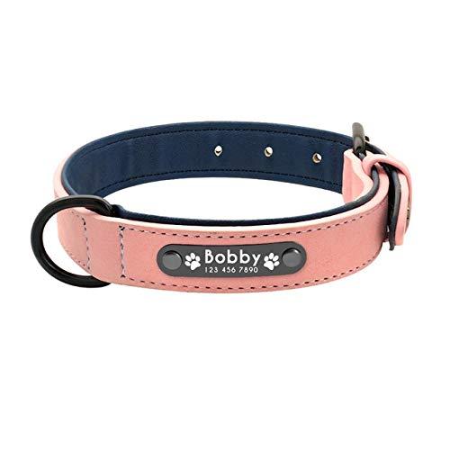 Collari Cane Personalizzati Custom Leather Collo Nome ID Tag per Piccoli Cani di Grandi Dimensioni Pitbull Bulldog Beagle Correa Perro S (in VI Rosa
