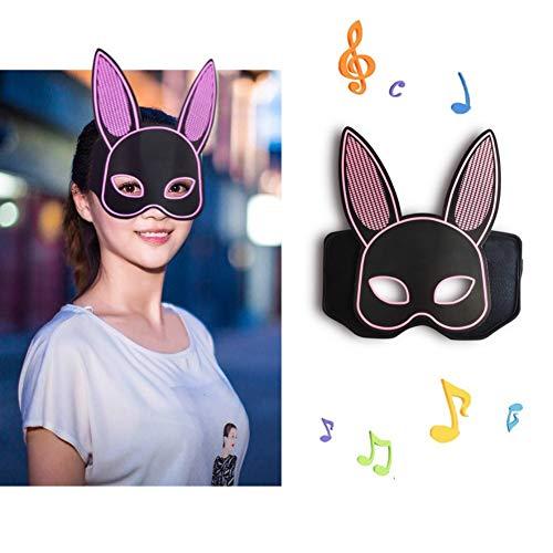 Halloween-Maske führte Halloween-Cosplay-Maske, Sound aktiviert LED leuchten Maske Rabbit Design DJ Musik Maske oberen Gesicht bedeckt leuchtende Party Maske