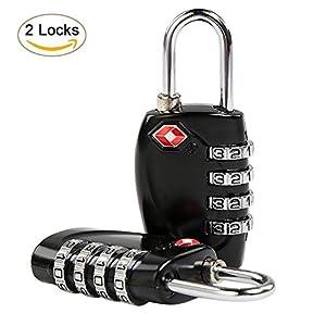 Serrures à Bagages TSA, Ballery 2 TSA serrures de sécurité à Combinaison TSA Cadenas pour Valise Bagages Sacs (2 Pack)