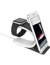 2 en 1 Muelle de Carga Soportes Soporte Accesorios teléfono Titular para Apple Watch iWatch (Gris)