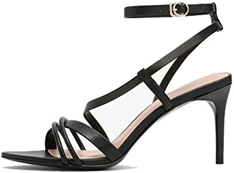 LHA Chaussures été chaussures à talons hauts avec avec avec de fines bretelles croisées à bout ouvert sandales (Couleur...B07DBW3K4TParent | Online Store  6d8048