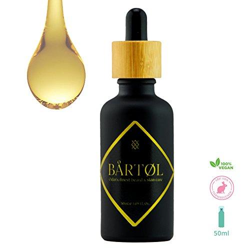 Bårtøl Bartöl 100% natürlich, Bartpflege Öl vegan, weicherer Bart, lindert Juckreiz, für 3 Tage Bart bis Vollbart, naturrein, bio, ohne Chemie, 50ml