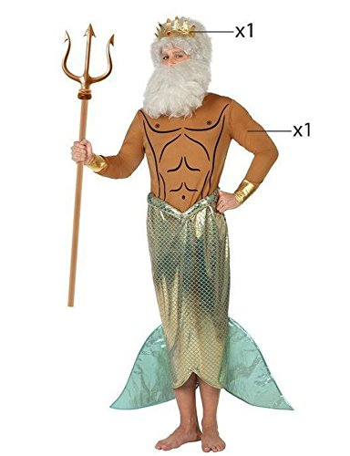 Atosa 26673 - Neptun, Herrenkostüm, Größe 50/52, (Neptun Dreizack Kostüm)
