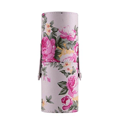 Kosmetiktasche Kolylong PU Leder Kosmetische Lagerung Makeup Bürsten Halter ( 6.5x17.8cm) Weiß (Lumia 825)