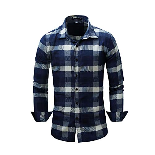 VITryst Men's Denim Single Breasted Non-Iron Long-Sleeve Western Shirt Dark Blue L - Woven Long Sleeve Button