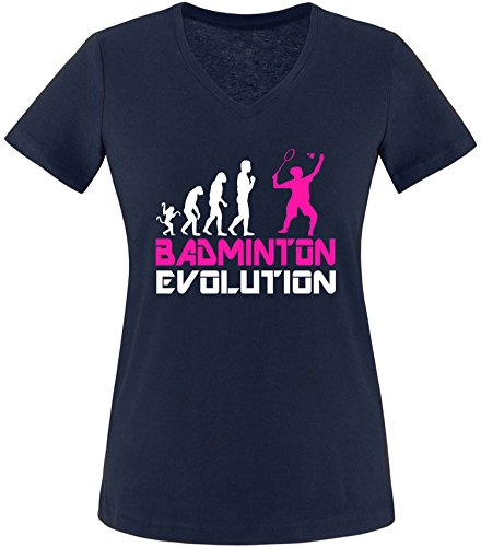 EZYshirt® Badminton Evolution Damen V-Neck T-Shirt Navy/Weiss/Pink