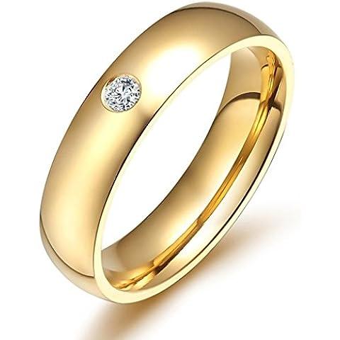 Uomo Donna Matrimonio Banda Acciaio Inossidabile Cz Opzioni Multi-Colore 5 Mm Oro Dimensione 10 Di AieniD