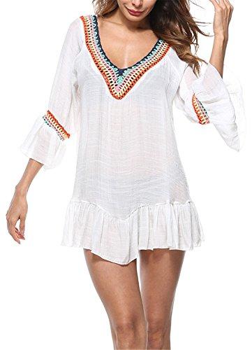 PANAX Damen Sommer Minikleid mit Handgehäkeltem Ausschnitt, ¾ Arm mit Rüschen im Boho Style, Cotton Slub Blusenhemd für Urlaub, Strand und Bikini -