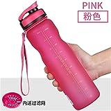 Hunt Power 1000ml Sportflasche Portable Leakproof Fahrrad Wasserflasche Outdoor Drink Cup Für Radfahren Wasserkocher 3 Farben,Rosa,1000ml