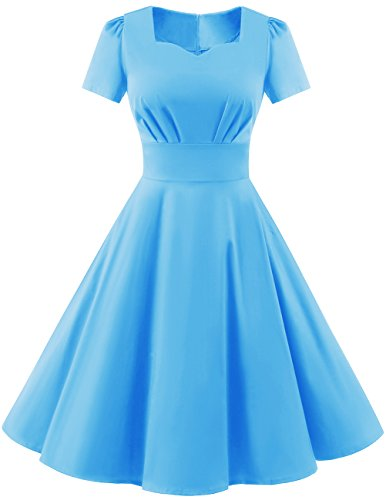 Dresstells Damen Vintage 50er Rockabilly kurzarm Swing Kleider Partykleid Blue 4XL (Frühjahr Kurzarm)