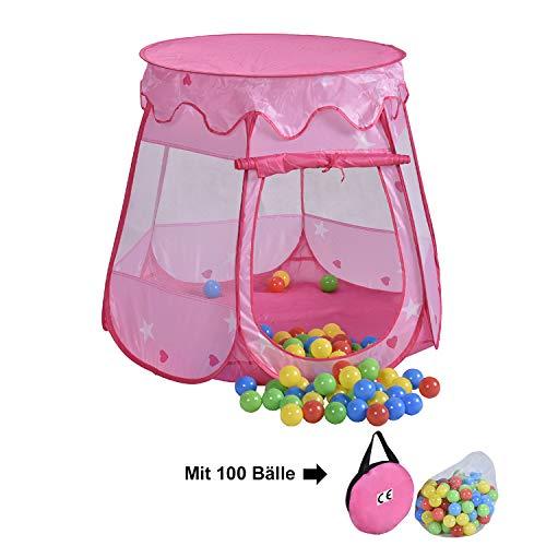 HB club Pop Up Kinderspielzelt Spielhaus mit 100 Bälle und Tragetasche Kinder Spielzelt Bällebad für Mädchen Prinzessin Drinnen Draußen Rosa