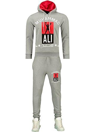Herren Trainingsanzug / MUHAMMAD ALI Champion / Hose + Hoodie / SLIMFIT / Grau X-Large (Seite Abnehmen Zip-hose)